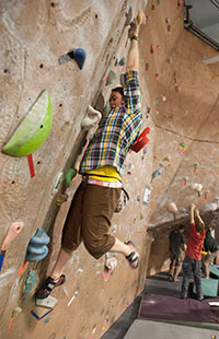 person using the climbing wall