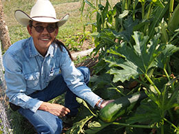 man in cowboy hat squatting beside plant, holding large zucchini