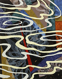 abstract image with winding white lines over sections of various colors