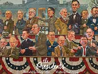 illustration with cartoon figures of U.S. presidents