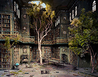 photo of abandoned library building with trees growing in it