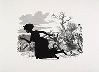 black paper sillhouette of 1800s woman running past ink drawings of many people