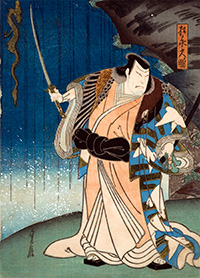 Japanese style woodblock pirnt of  warrior in Kabuti play holding sword