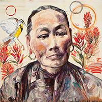 painting of woman in traditional Chinese clothing with flowers and bird in the background