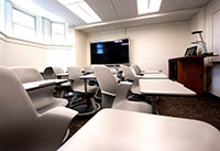 chair-desk combinations in a newly redone classroom