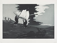 greyscale print of hands holding a sailing ship out of ocean waves