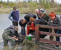 group of people on a dock watching someone with waders in the water