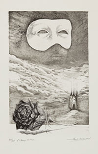 black and white print with a mask above and a rose below