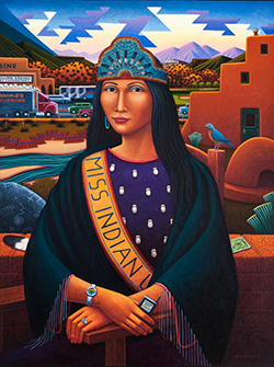 stylized painting of a Native American woman