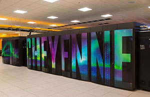 The word Cheyenne in holographic lettering on server cases