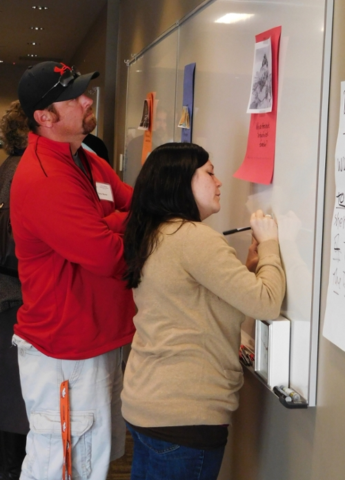 Two participants during gallery walk