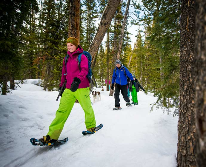 Picture of students snowshoeing