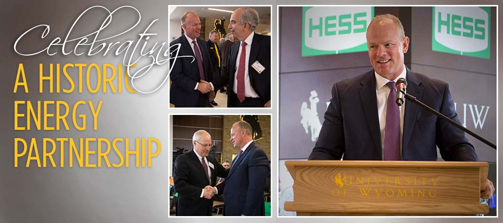 Picture of Govenor Matt Mead in regard to Hess corporation donation