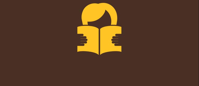 Icon of a person with a book open in front of their face