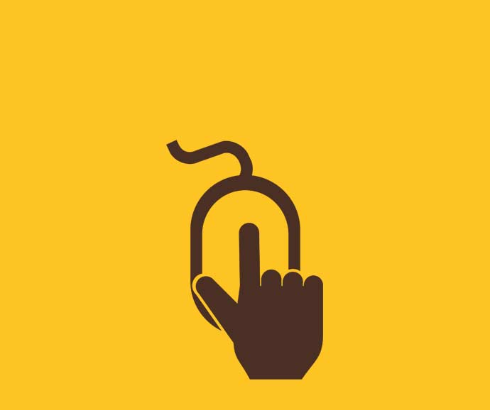 Brown and yellow icon of a hand clicking a computer mouse.