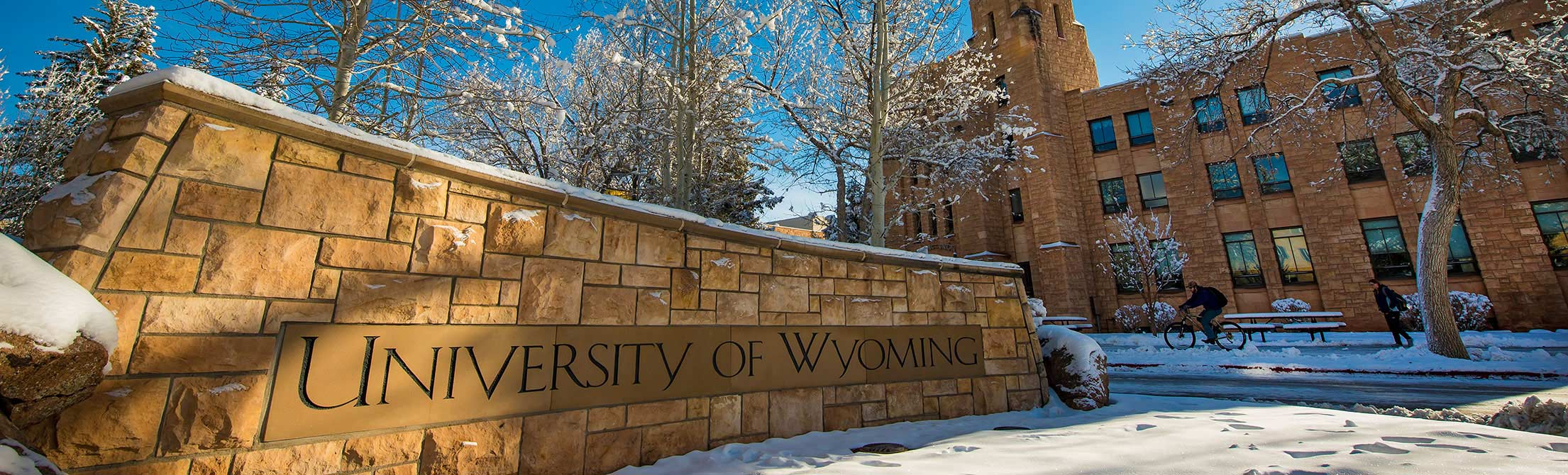 University of Wyoming sign outside the union during winter