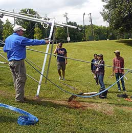Fred Ogden, a UW professor in the Department of Civil and Architectural Engineering, instructs Ph.D. students from around the country how to set up and operate a rainfall simulator system at the National Water Center recently. During the 2017-18 year, Ogden will serve as senior scientist at the National Water Center in Tuscaloosa, Ala. (Fred Ogden Photo)