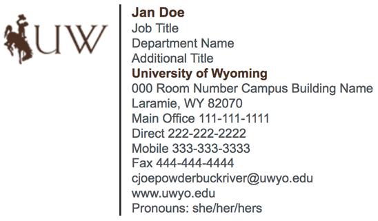 Email Signature Form | University of Wyoming
