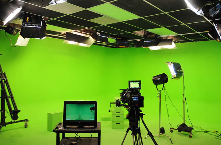 Green screen in video production studio