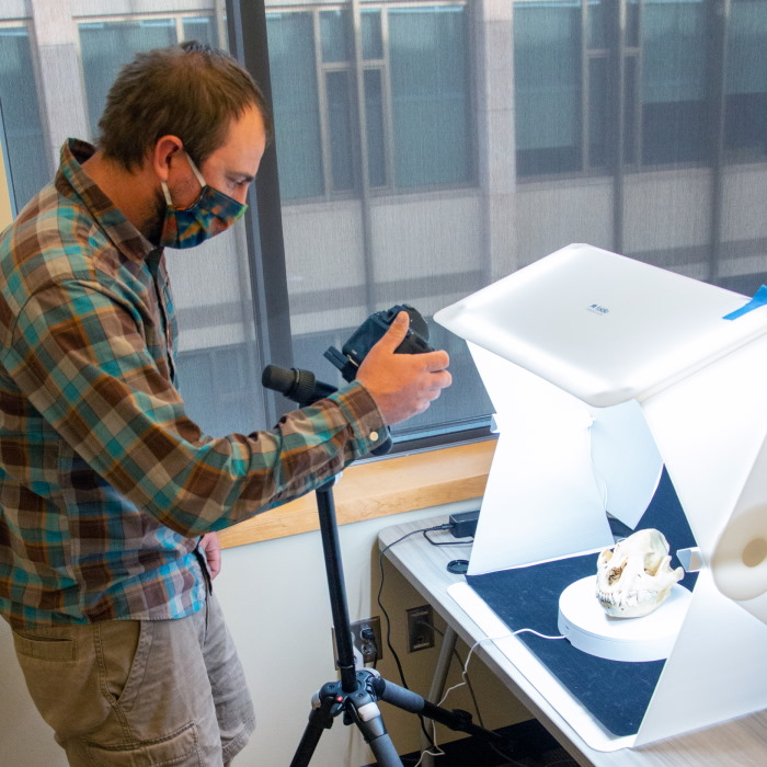 UW anthropology doctoral student Charles Koenig, from Silverthorne, Colo., digitally scans specimens for Coe Library Digital Collections and the Museum of Vertebrates' collaboration for online use by researchers, students and educators.