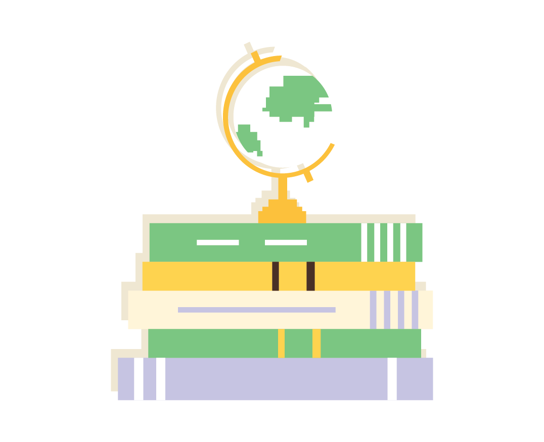 desk globe and book stack icon