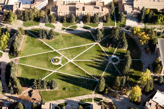 aerial view of the UWYO campus