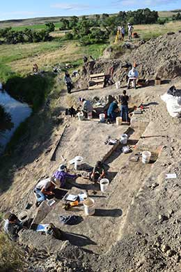 overhead view of people working on an excavation site
