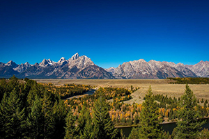 Snake River in foreground, Tetons in the background